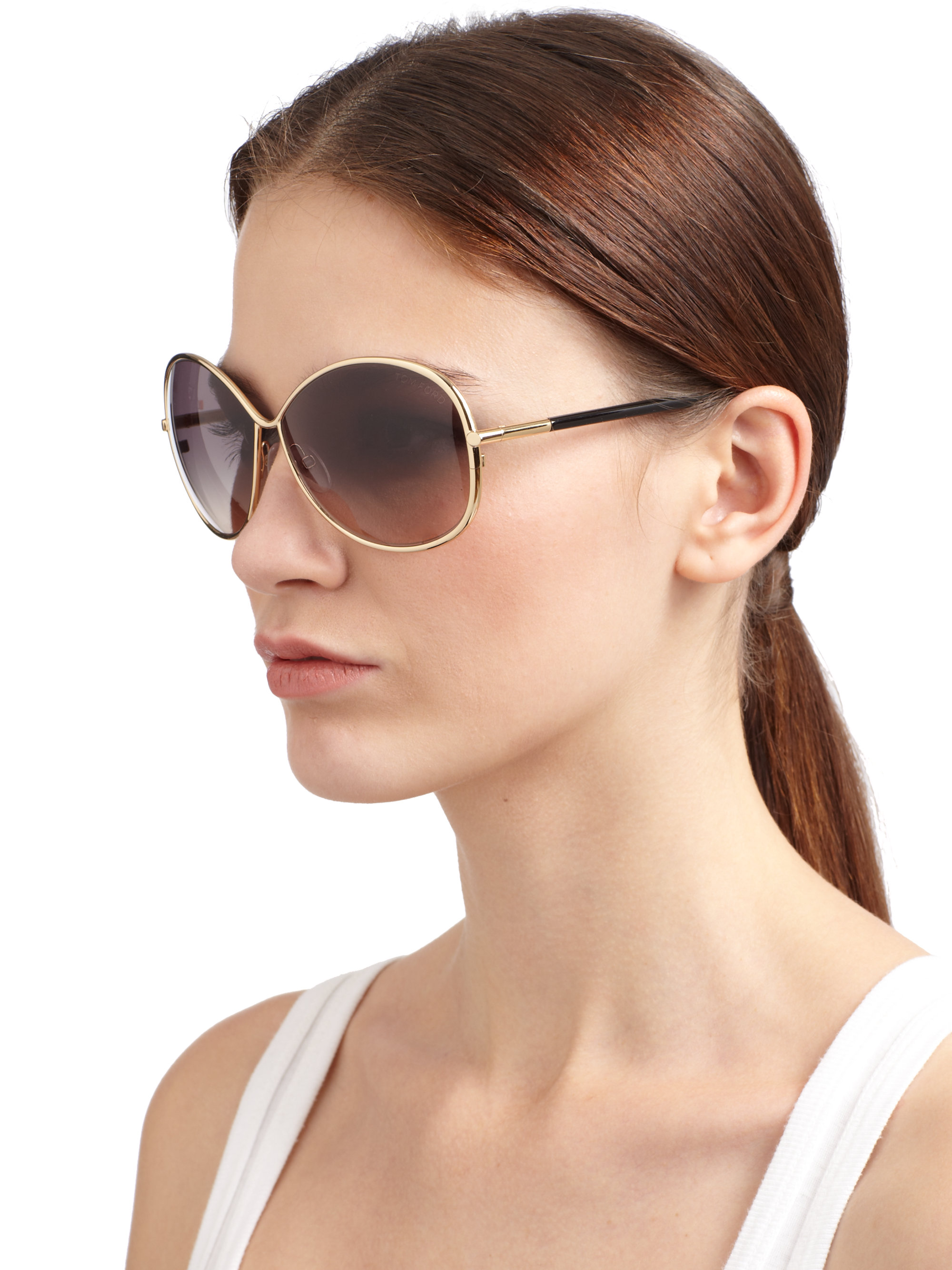 Lyst Tom Ford Iris Metal Butterflyshaped Sunglasses In
