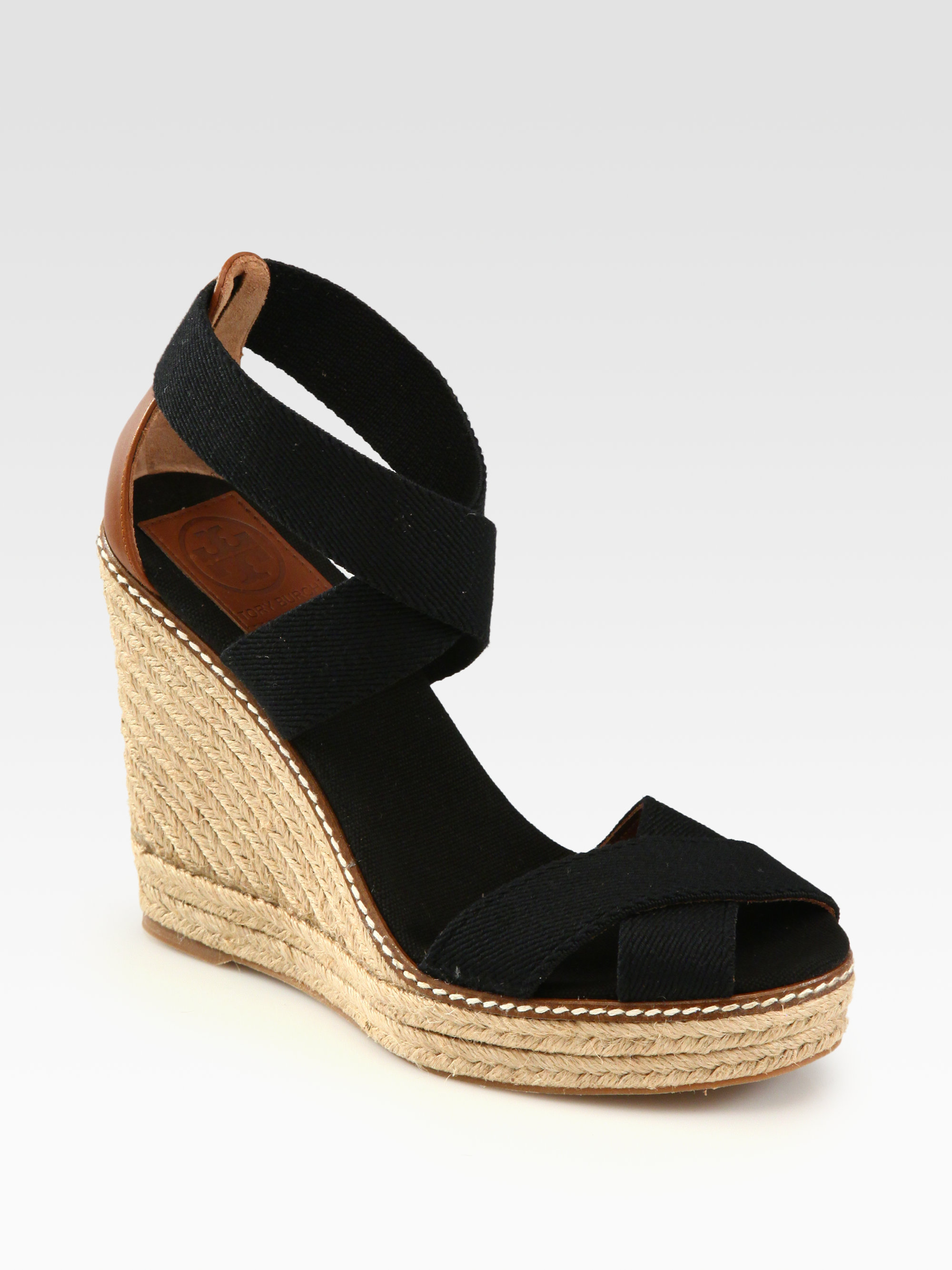 Tory Burch Adonis Canvas Espadrille Wedges In Black Lyst