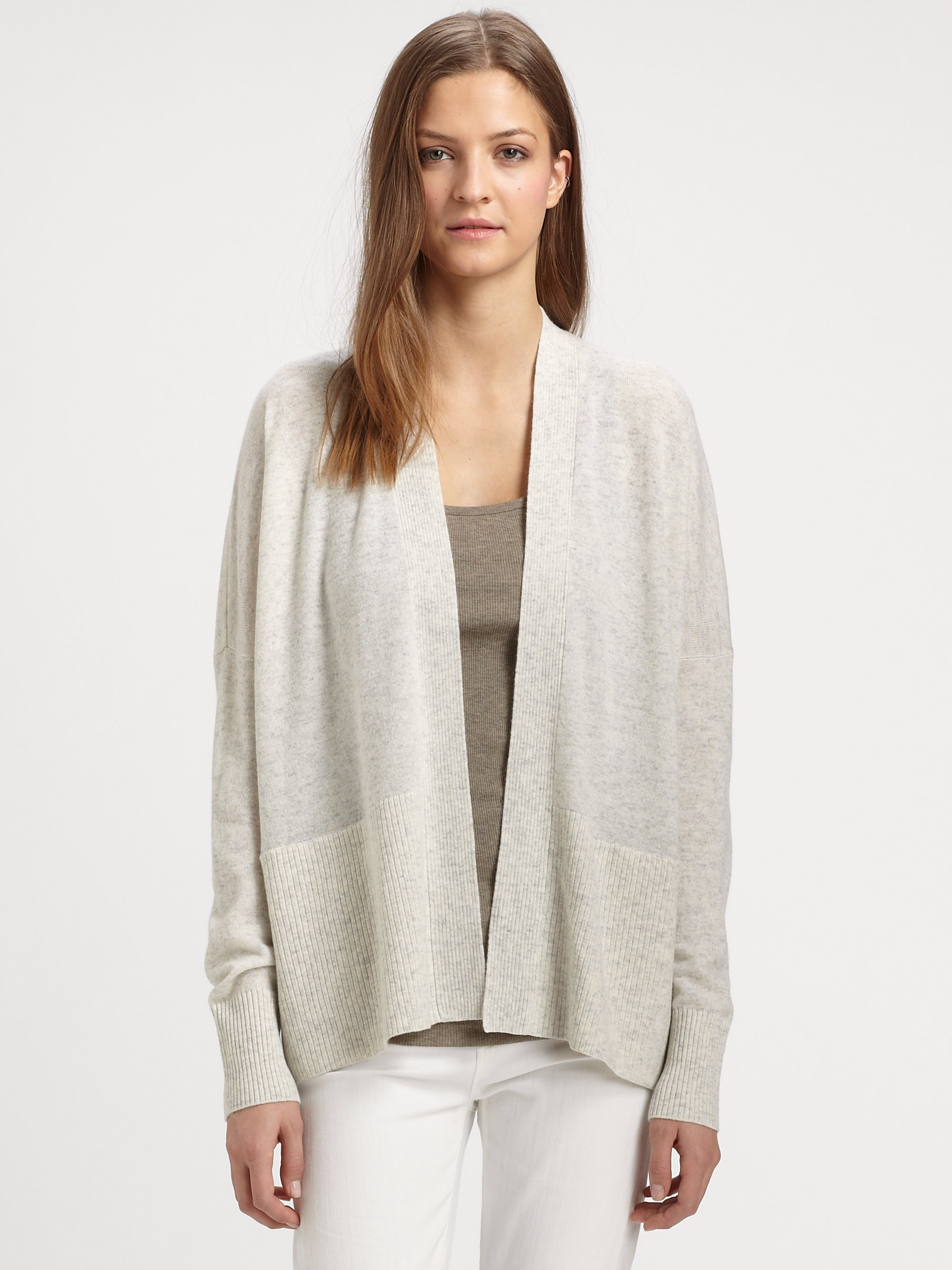 Vince Open-front Cashmere Cardigan in Metallic | Lyst