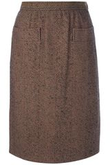 Yves Saint Laurent Vintage Tweed Pencil Skirt - Lyst