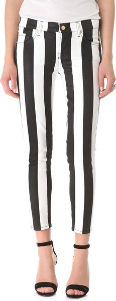 7 For All Mankind Coated Striped Cigarette Jeans - Lyst