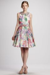 Alice + Olivia Lollie Belted Embellishedcollar Dress - Lyst