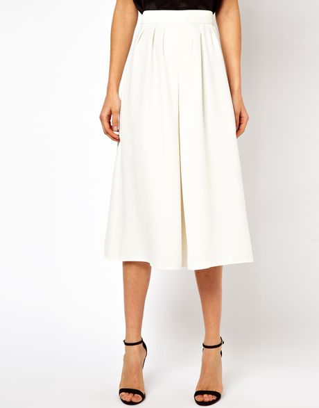 Asos Culottes In White Ivory Lyst