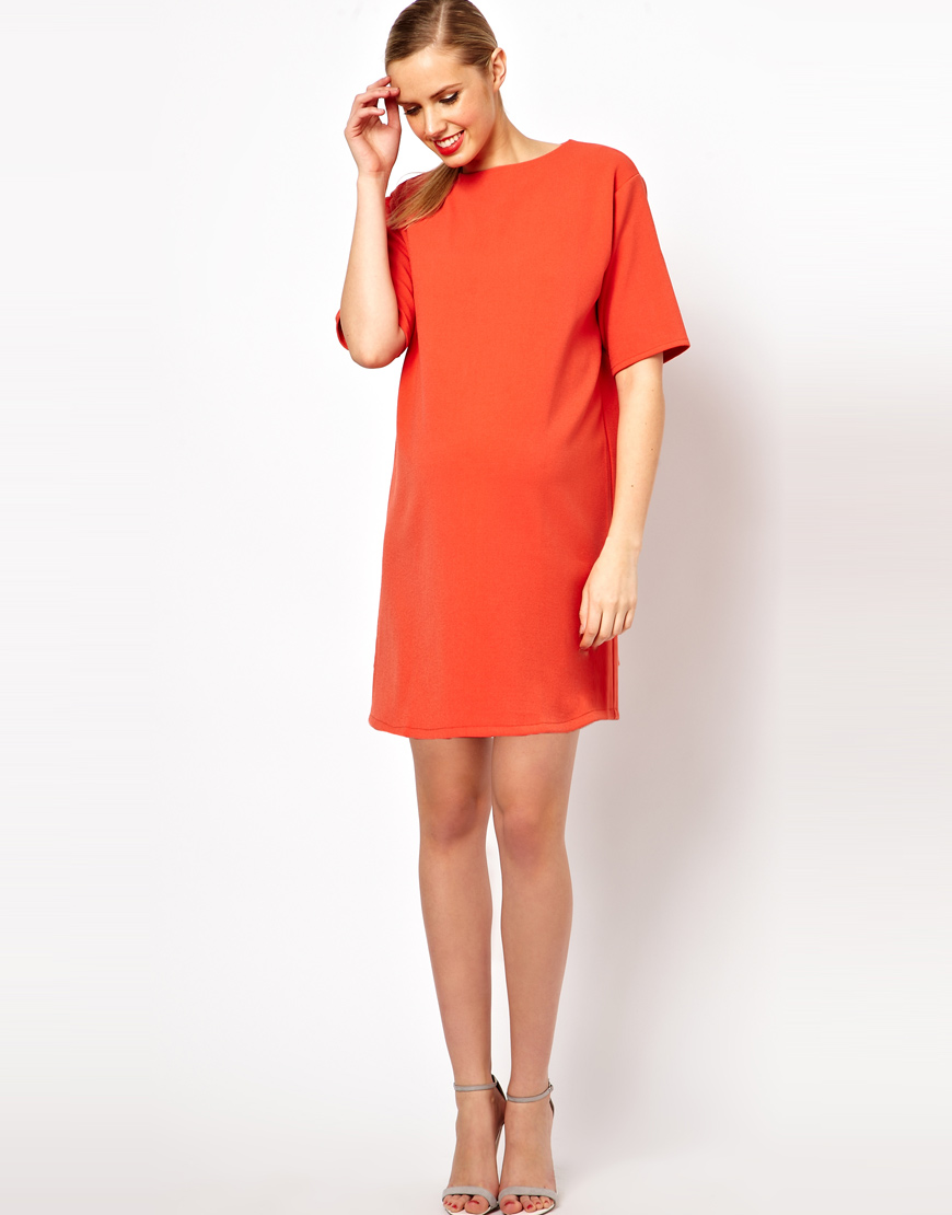 Lyst Asos Ovoid Shift Dress In Orange