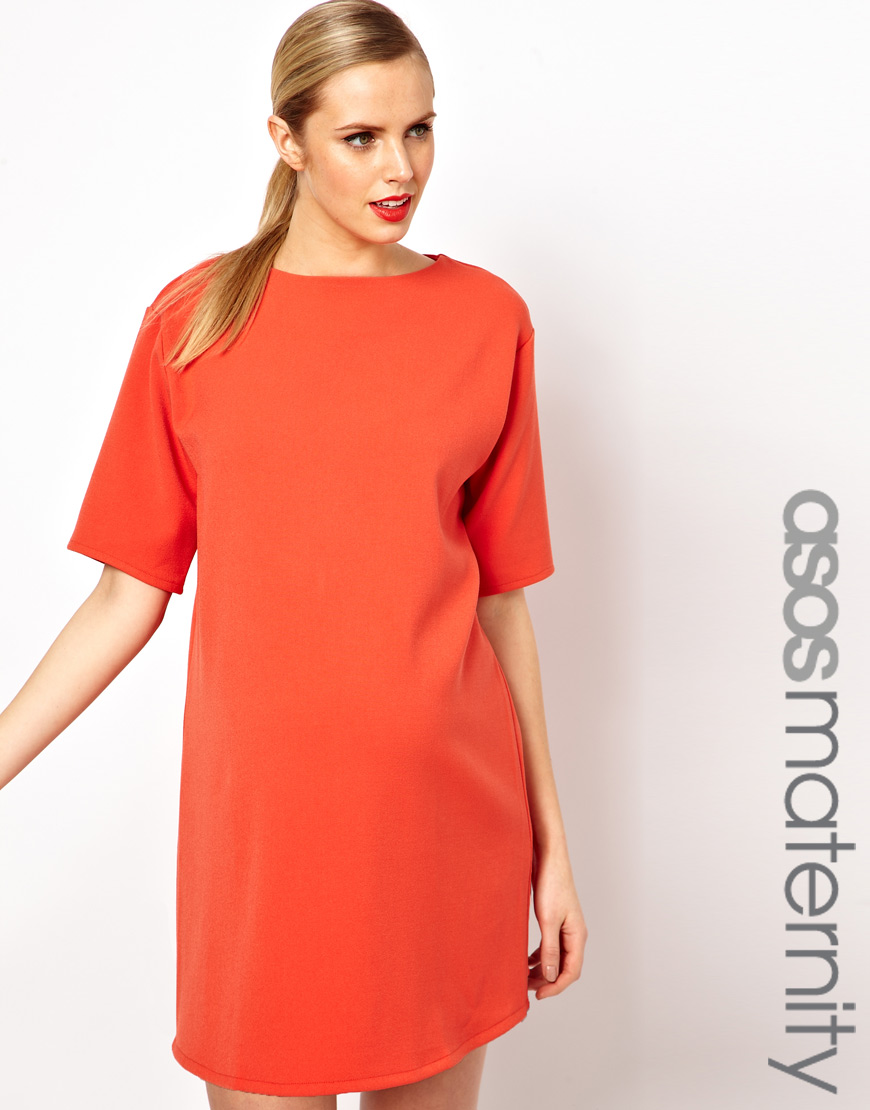 Wrangler asos maternity ovoid shift dress in orange lyst gallery ombrellifo Images