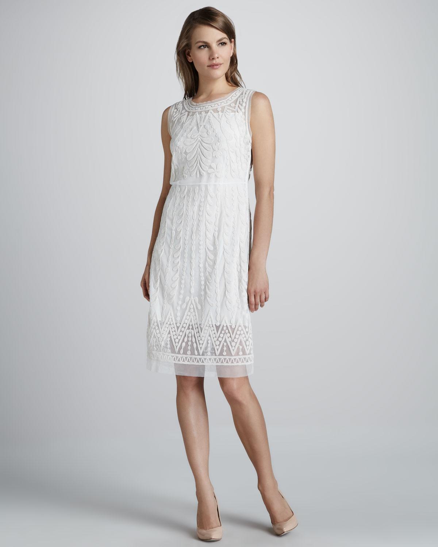 9fba53d6162 Lyst - Catherine Malandrino Embroidered Favorite Sheertrim Dress ...