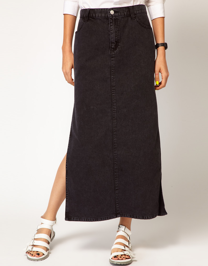 Cheap monday Denim Maxi Skirt with Side Splits in Black | Lyst