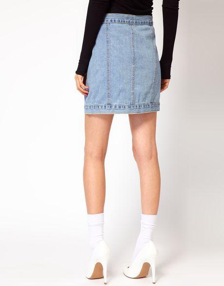 cheap monday denim mini skirt in blue lyst