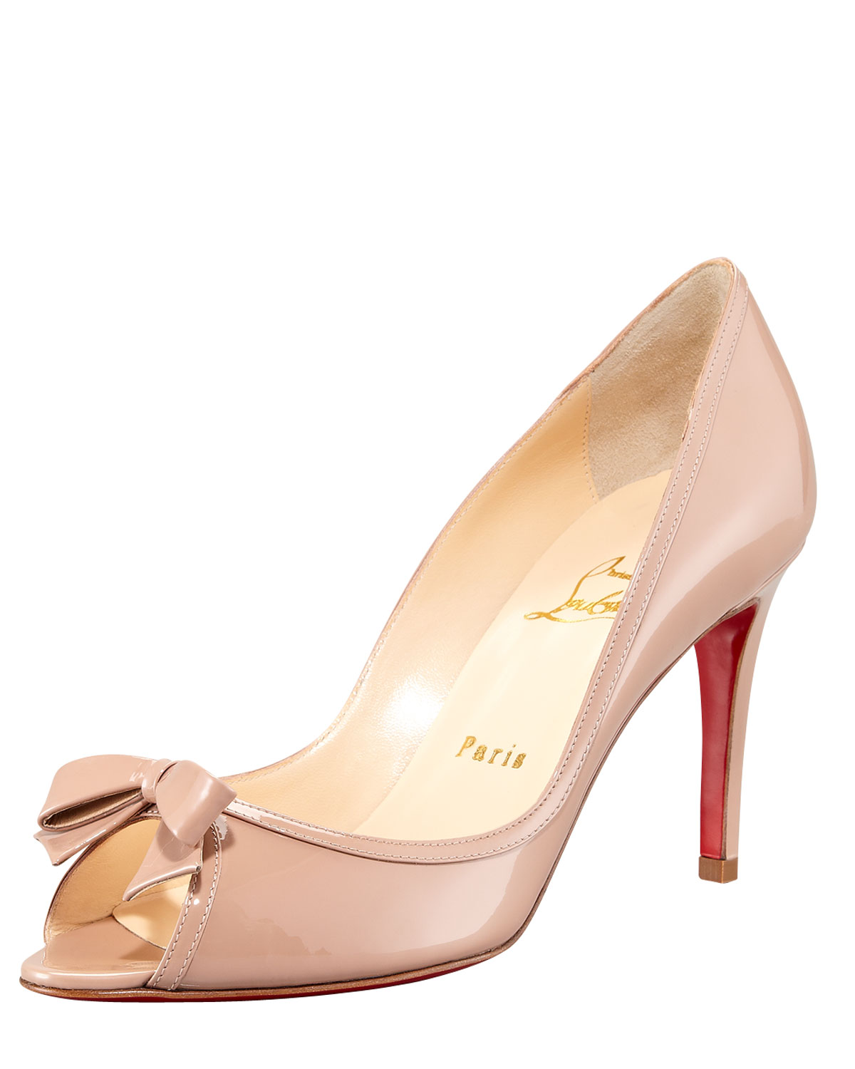mens spiked shoes - christian louboutin patent leather bow pumps, purple louboutins shoes