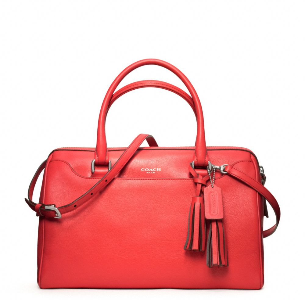 c91a1814f ... spain lyst coach legacy leather haley satchel with strap in red c536c  7edcc