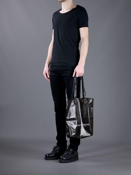 Comme Des Gar 231 Ons Logo Tote Bag In Black For Men Lyst