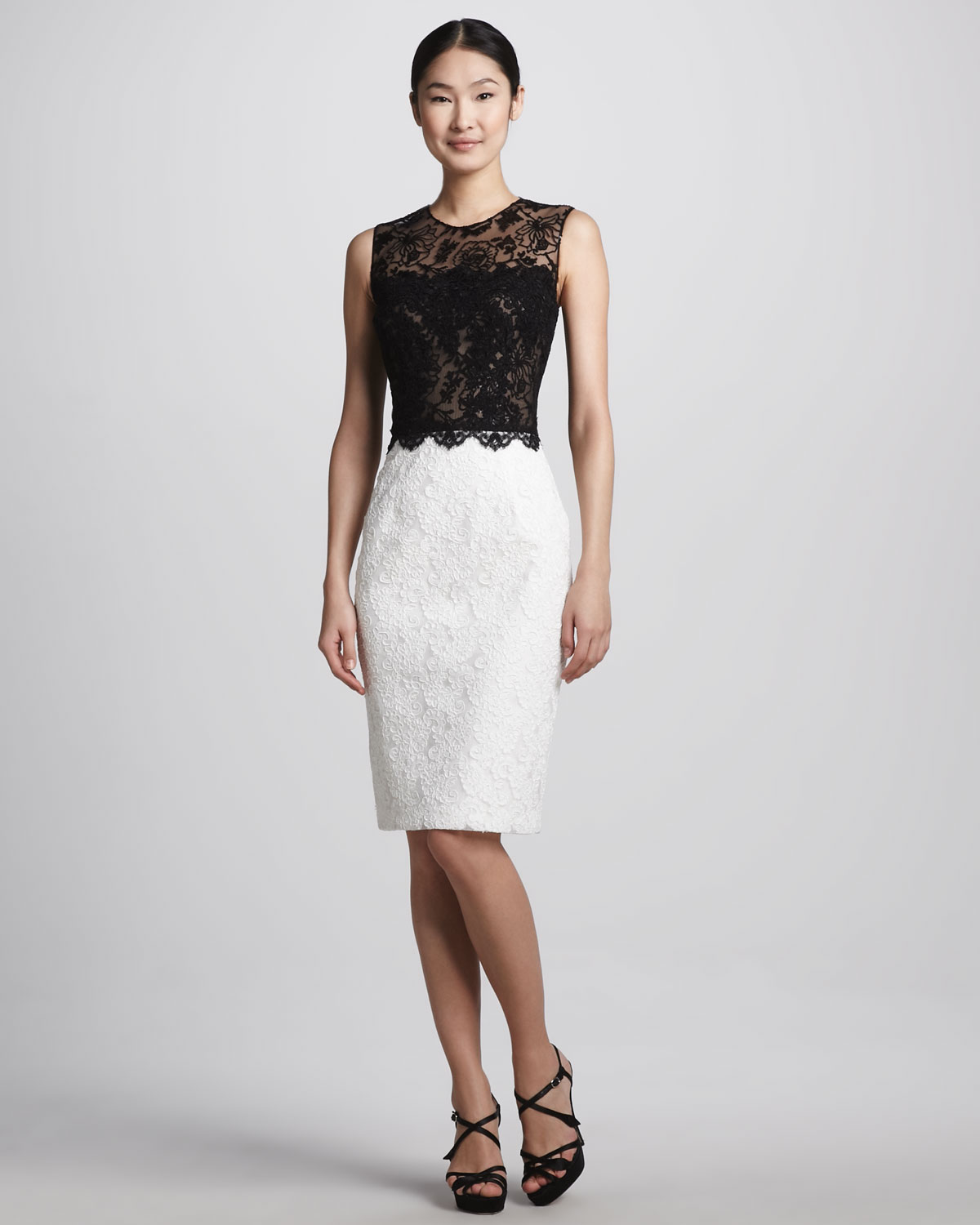 black and ivory cocktail dress