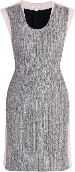 Diane Von Furstenberg Katherine Tweed Dress in Gray