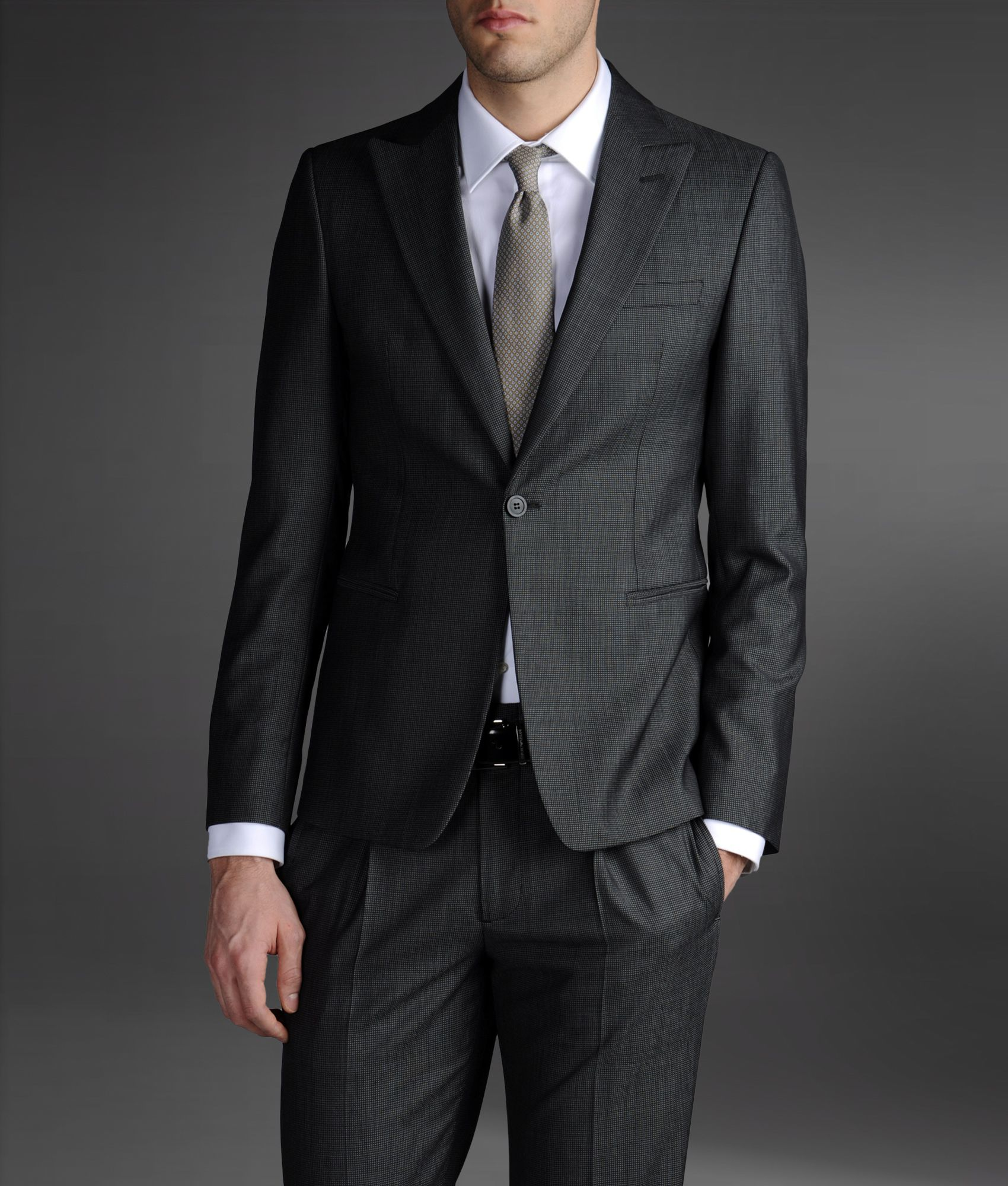 Emporio armani One Button Suit in Gray for Men | Lyst