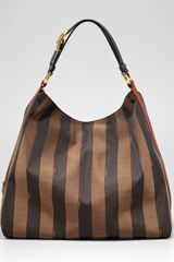 Fendi Pequin Tonal Stripe Hobo Bag - Lyst