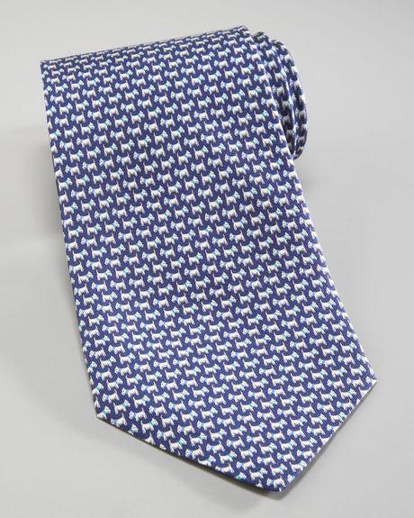 Ferragamo Scottie Dog Tie Navyaqua Blue in Blue for Men (navy aqua ...