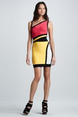 Hervé Léger Cutout Colorblock Bandage Dress - Lyst