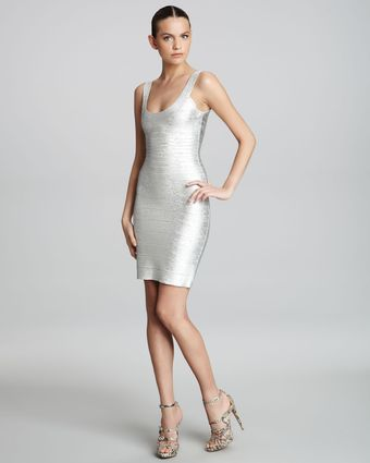 Hervé Léger Basic Shimmery Bandage Dress - Lyst