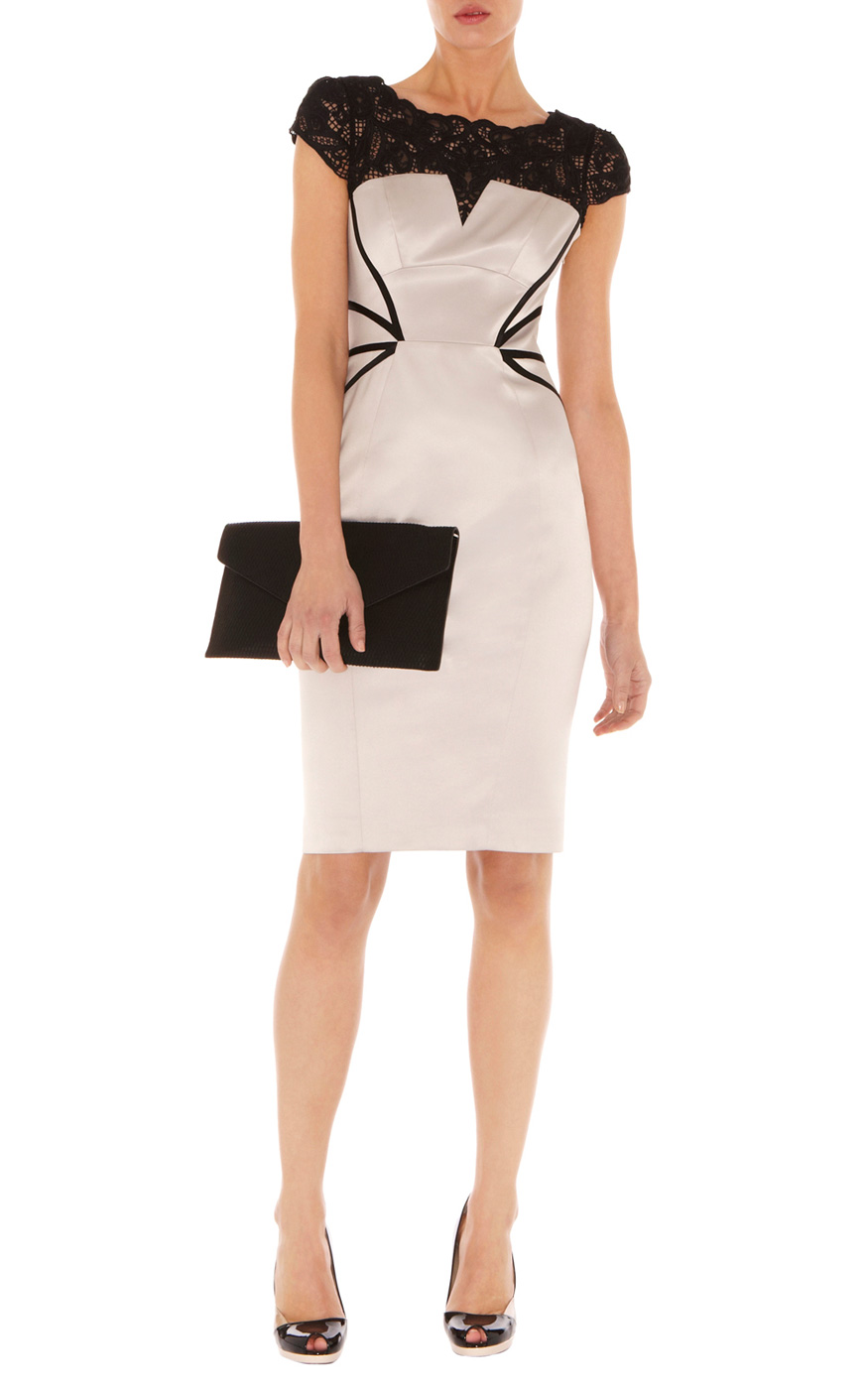 Karen millen lace embroidery dress in natural lyst