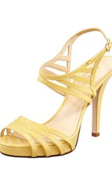 Kate Spade Ven Patent Leather Cage Sandal Yellow - Lyst