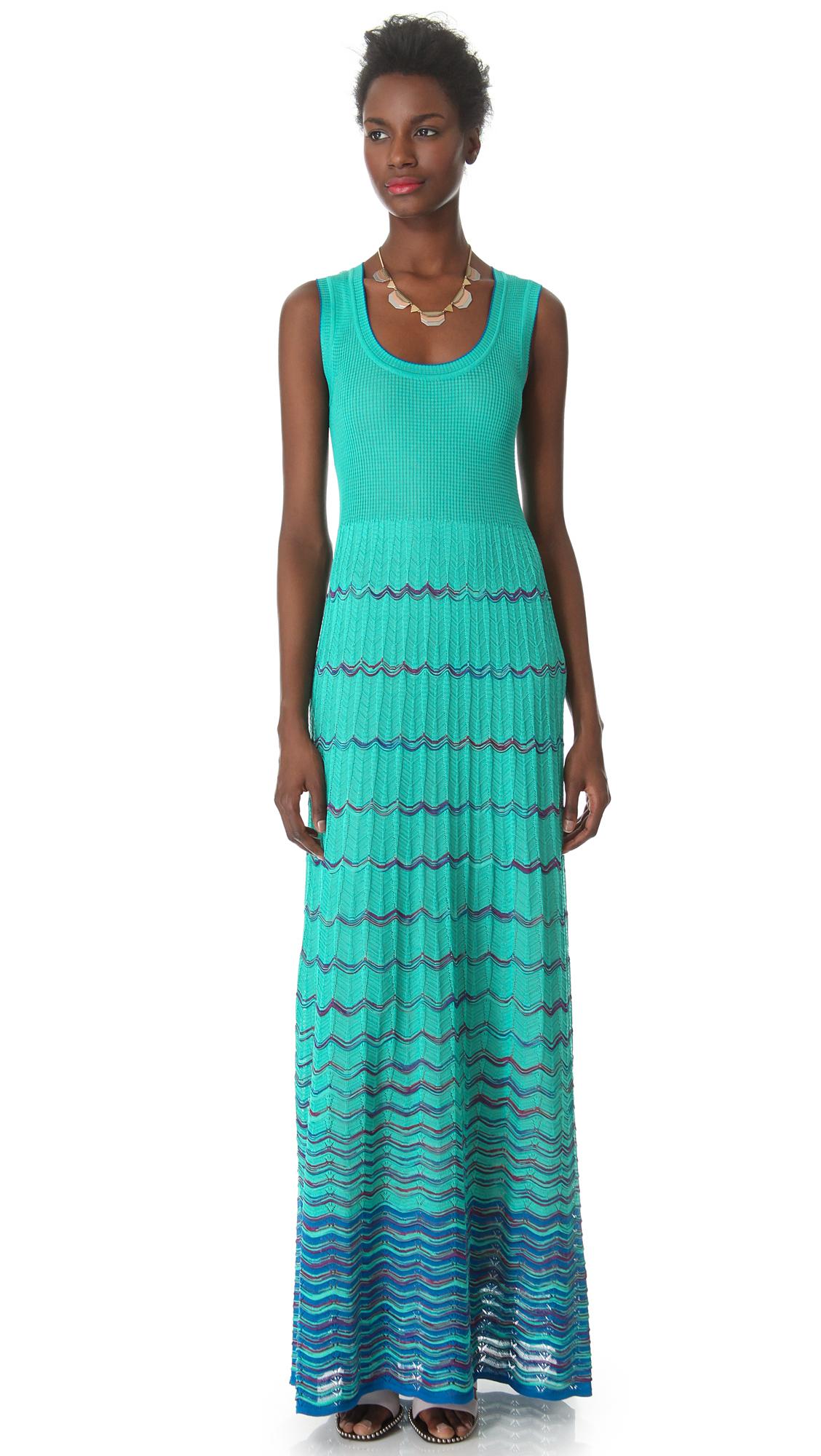 M Missoni Wave Stripe Maxi Dress In Blue Lyst