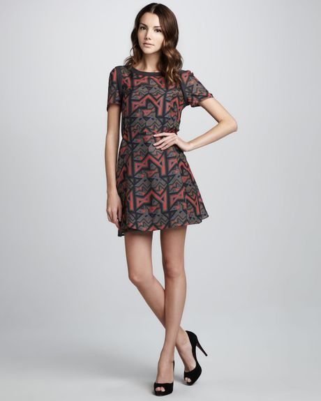 Marc By Marc Jacobs Geo Maze Printed A-Line Dress in Red (shadow grey multi)