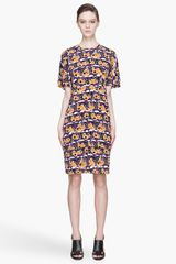 Marni Purple and Gold Printed Silk Shift Dress - Lyst