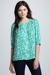Milly Geometric Print Blouse - Lyst