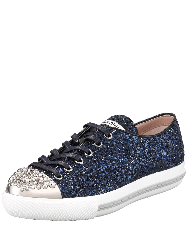 lyst miu miu studded captoe glitter sneaker in blue. Black Bedroom Furniture Sets. Home Design Ideas