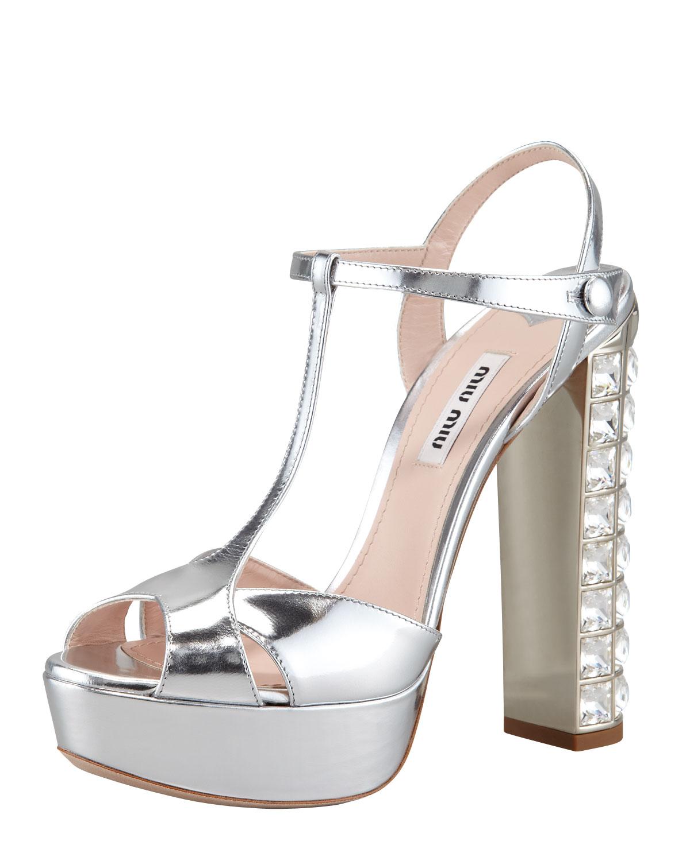e9994727efd Lyst - Miu Miu Jeweled Heel Sandal in Metallic