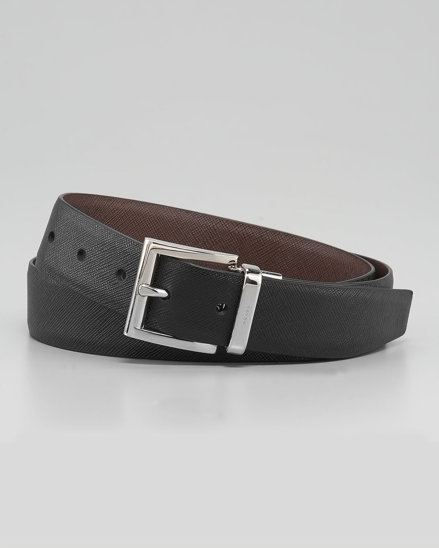 Prada Reversible Saffiano Belt In Black For Men (black