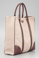 Prada Canvas Leather Tote Bag Beigebrown - Lyst