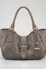 Prada Vitello Daino Buckle Tote Bag - Lyst