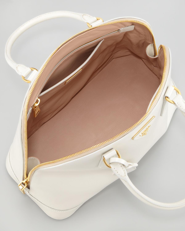 63aa5484948f ... inexpensive prada saffiano vernice round dome bag talco in white talco  lyst edbb5 3d9de