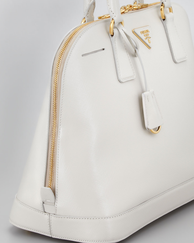 Prada Saffiano Vernice Round Dome Bag Talco in White (talco) | Lyst