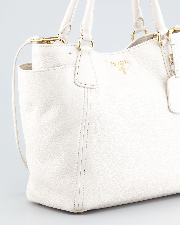 Prada Daino Doublepocket Tote Bag Talco in White (talco (white ...