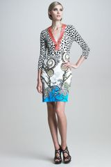 Roberto Cavalli Beaded Mixed-Print Dress - Lyst