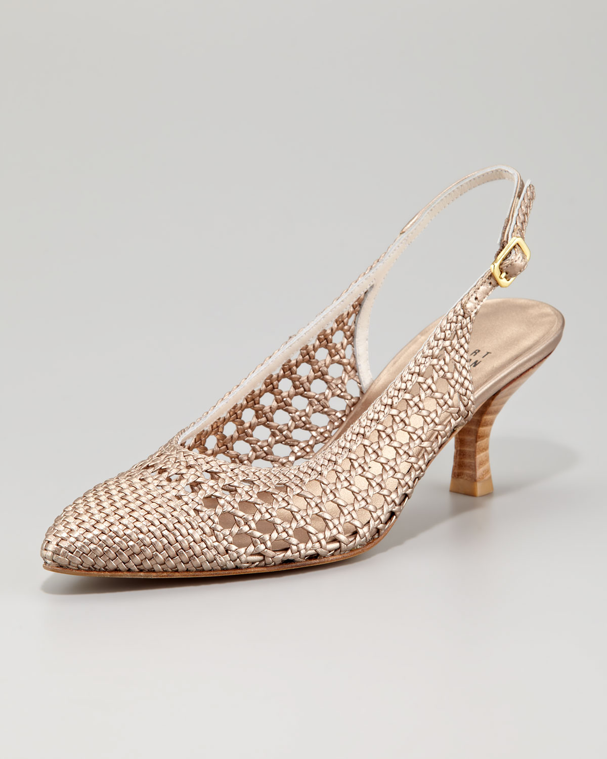 Stuart weitzman Meeting Woven Leather Kitten heel Sling-back in ...