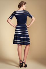 Temperley London Petra Sleeved Dress in Blue (navy/ivory) - Lyst