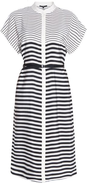 Tibi Silk Stripe Long Shirt Dress - Lyst