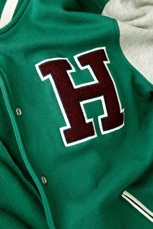 Topshop Jersey H Varsity Bomber Jacket In Green Lyst