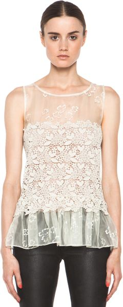 Valentino Four Leaf Clover Lace Top  in Beige (ivory)