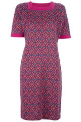 Yves Saint Laurent Vintage Geometric Print Sweater Dress - Lyst