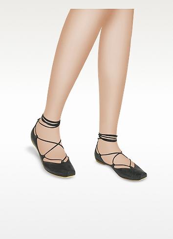 alberto gozzi black anklewrap leather ballerina flat shoes