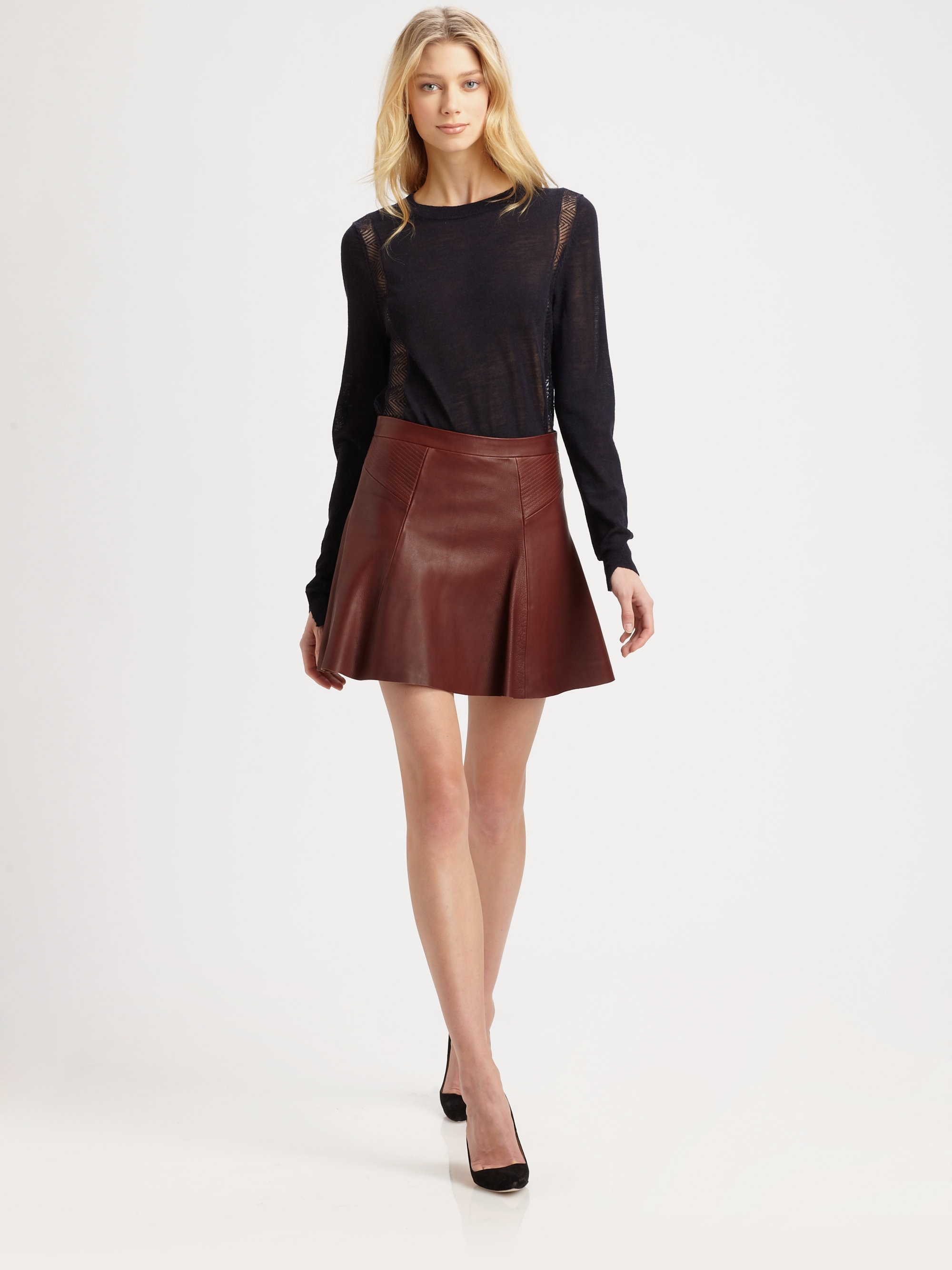 A.l.c. Reese Leather Mini Skirt in Red | Lyst