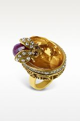Alcozer & J Crystal Bee Brass Ring - Lyst
