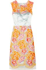 Erdem Innes Neon Embroidered Organza and Silk Satin Dress - Lyst