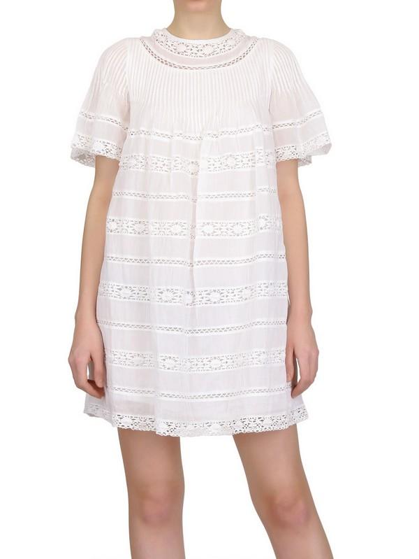 6d81c3fe1d6 Étoile Isabel Marant Lace On Cotton Voile Dress in Pink - Lyst