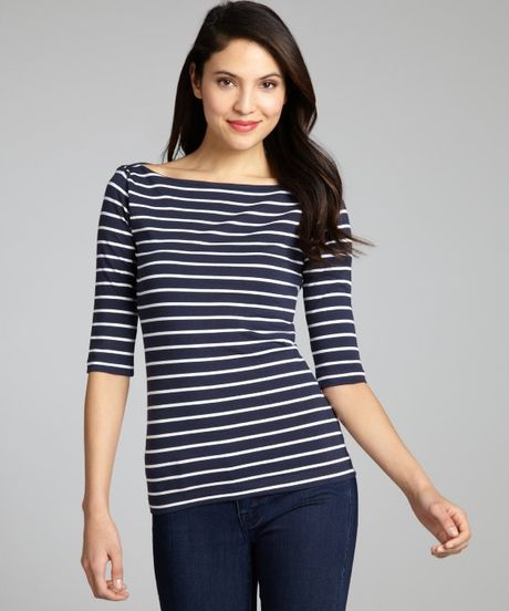 French Connection Striped Cotton Blend Boat Neck Top In