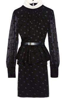 Jason Wu Long Sleeve Peplum Dress with Belt - Lyst